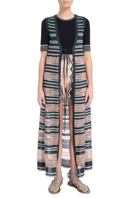 M MISSONI Long cardigan Dark blue Woman - Back