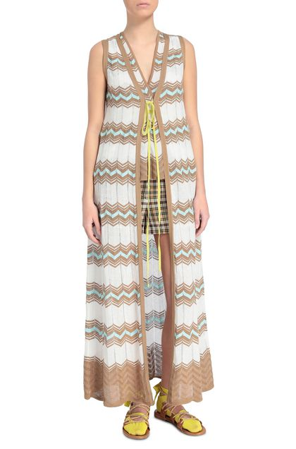 M MISSONI Long cardigan White Woman - Back
