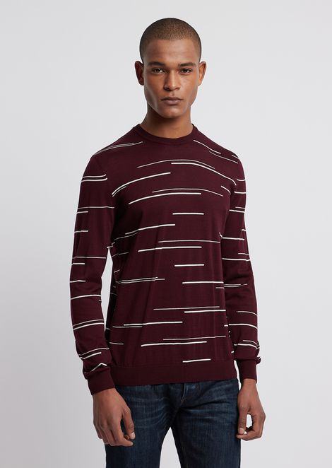 Crew-neck sweater with striped intarsia