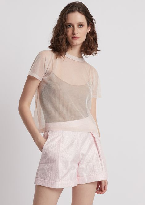 Top in perforated jersey with lurex yarn