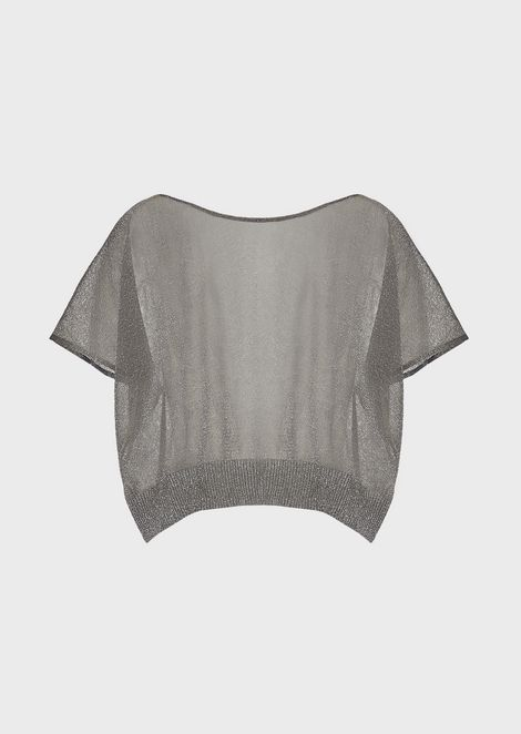 Cropped top in plain knit lurex