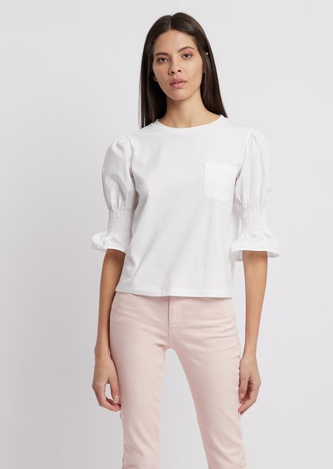 Pima jersey blouse with smocked sleeves