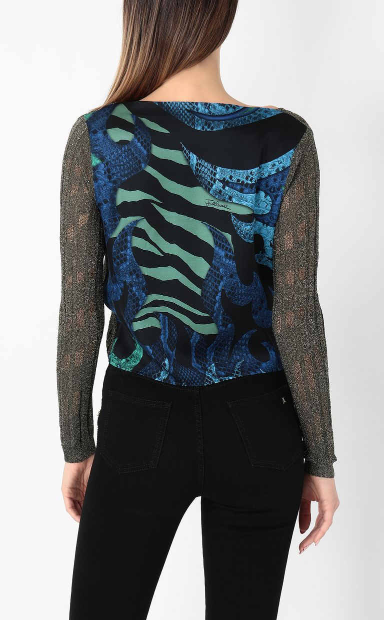 JUST CAVALLI Pullover with animal print Long sleeve sweater Woman a
