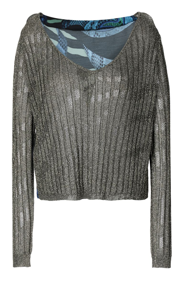 JUST CAVALLI Pullover with animal print Long sleeve sweater Woman f