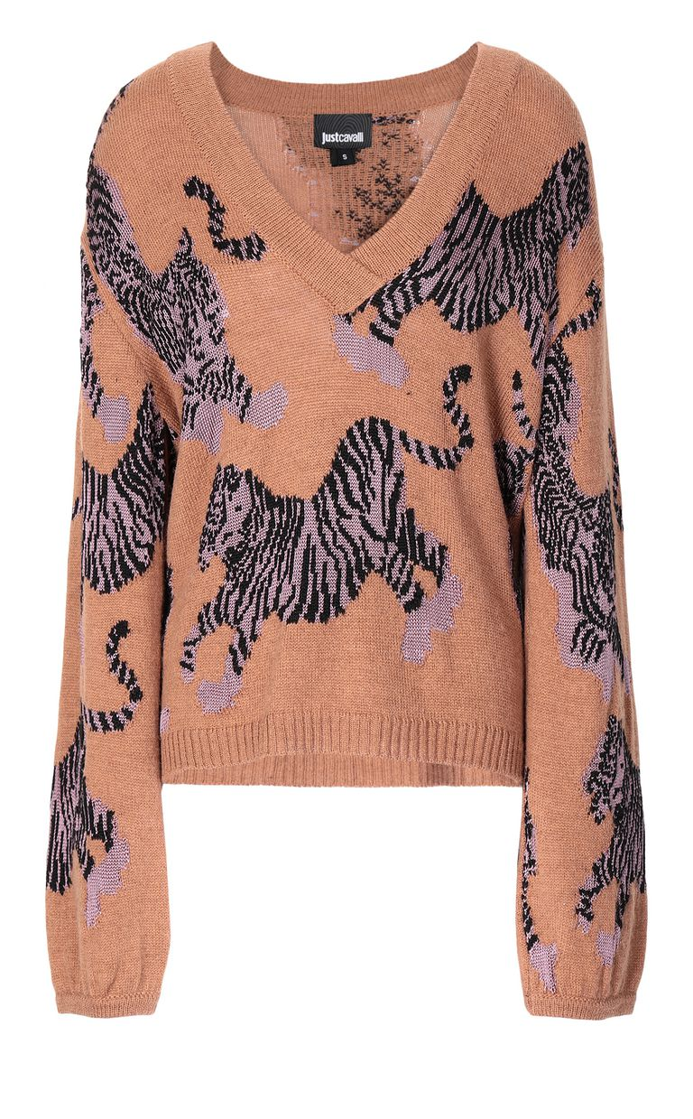 "JUST CAVALLI ""Chasing Tigers"" pullover V-neck Woman f"