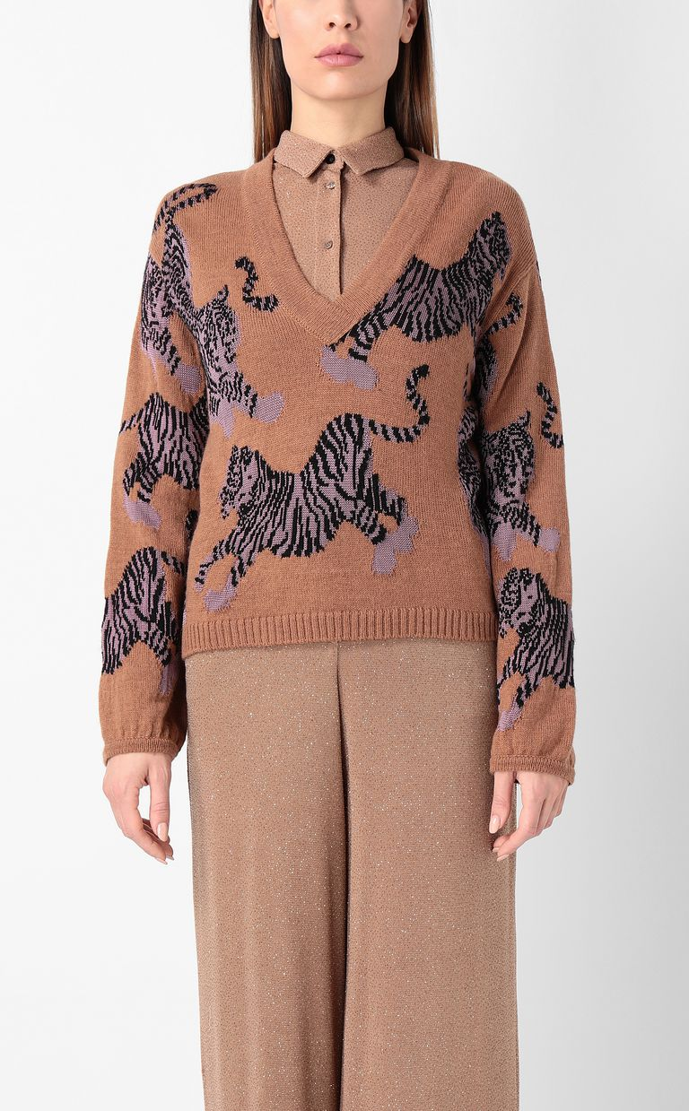 "JUST CAVALLI ""Chasing Tigers"" pullover V-neck Woman r"