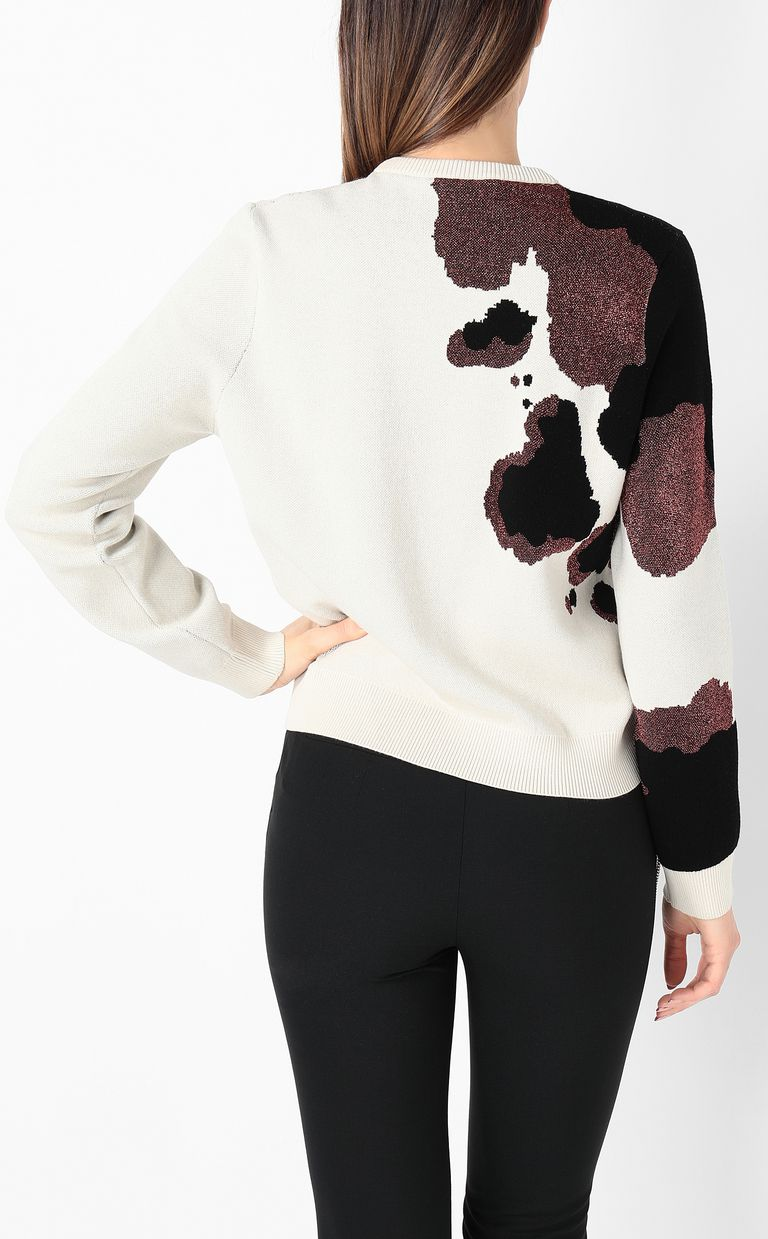 JUST CAVALLI Cowskin jacquard pullover Crewneck sweater Woman a
