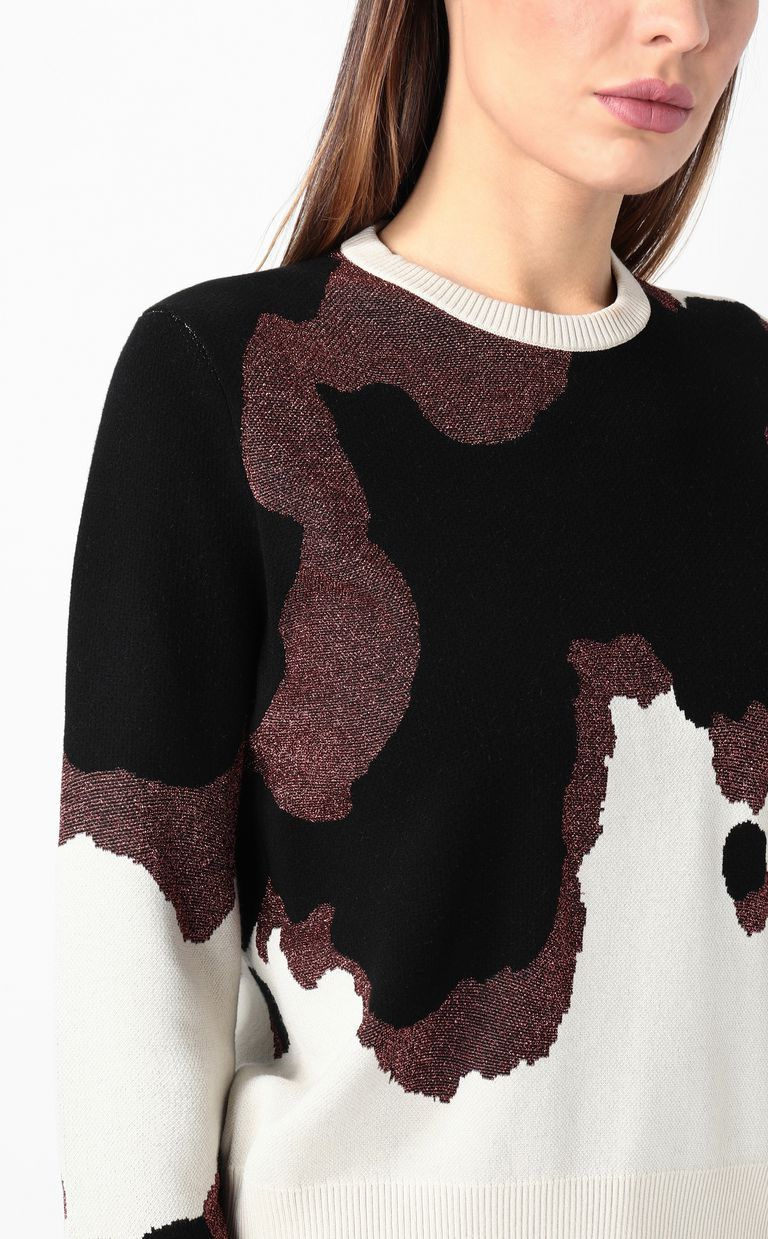 JUST CAVALLI Cowskin jacquard pullover Crewneck sweater Woman e