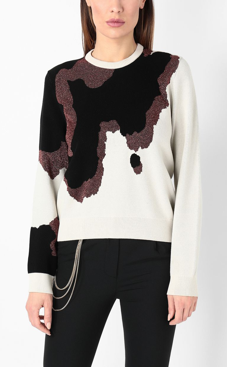 JUST CAVALLI Cowskin jacquard pullover Crewneck sweater Woman r