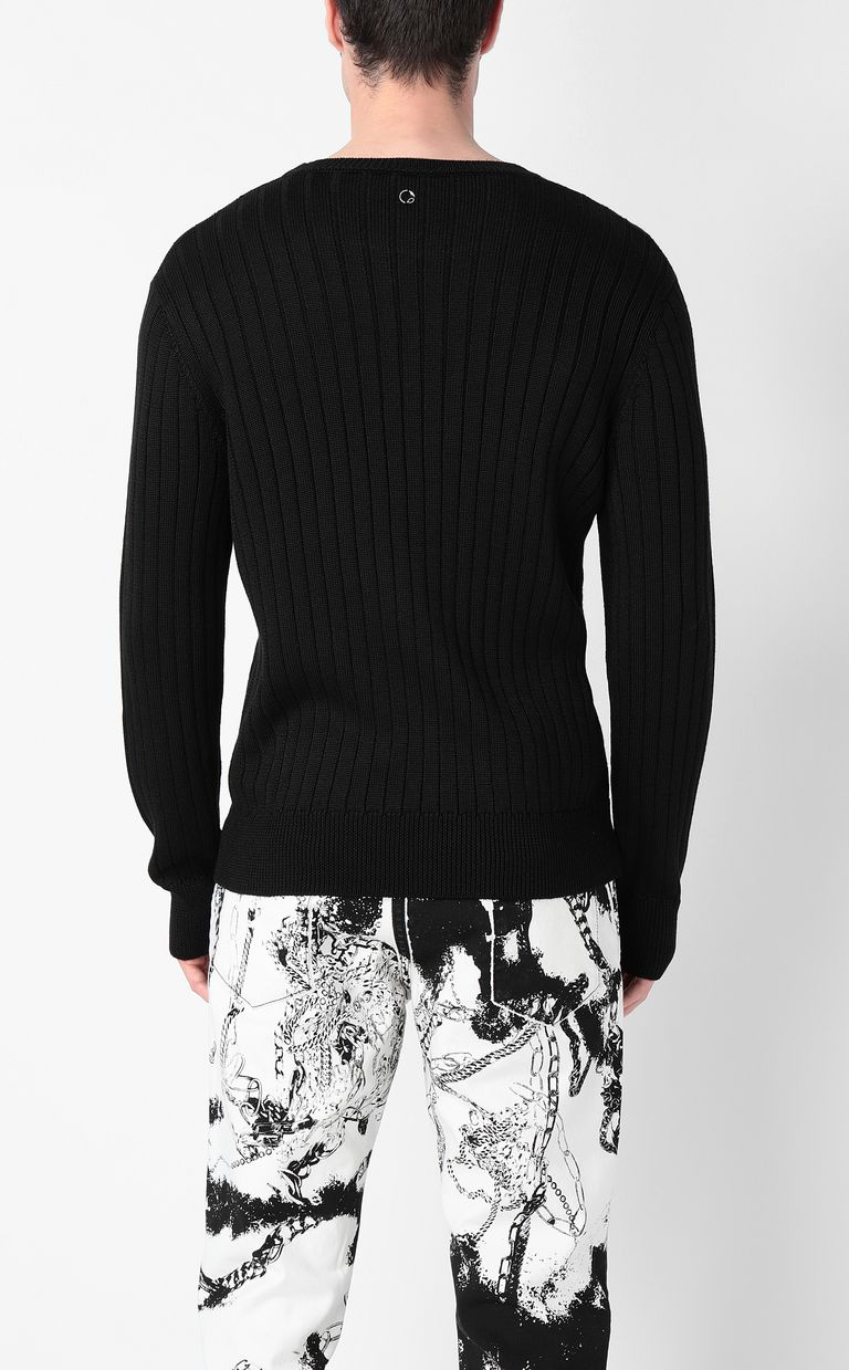 JUST CAVALLI Pullover with pierced detail Crewneck sweater Man a
