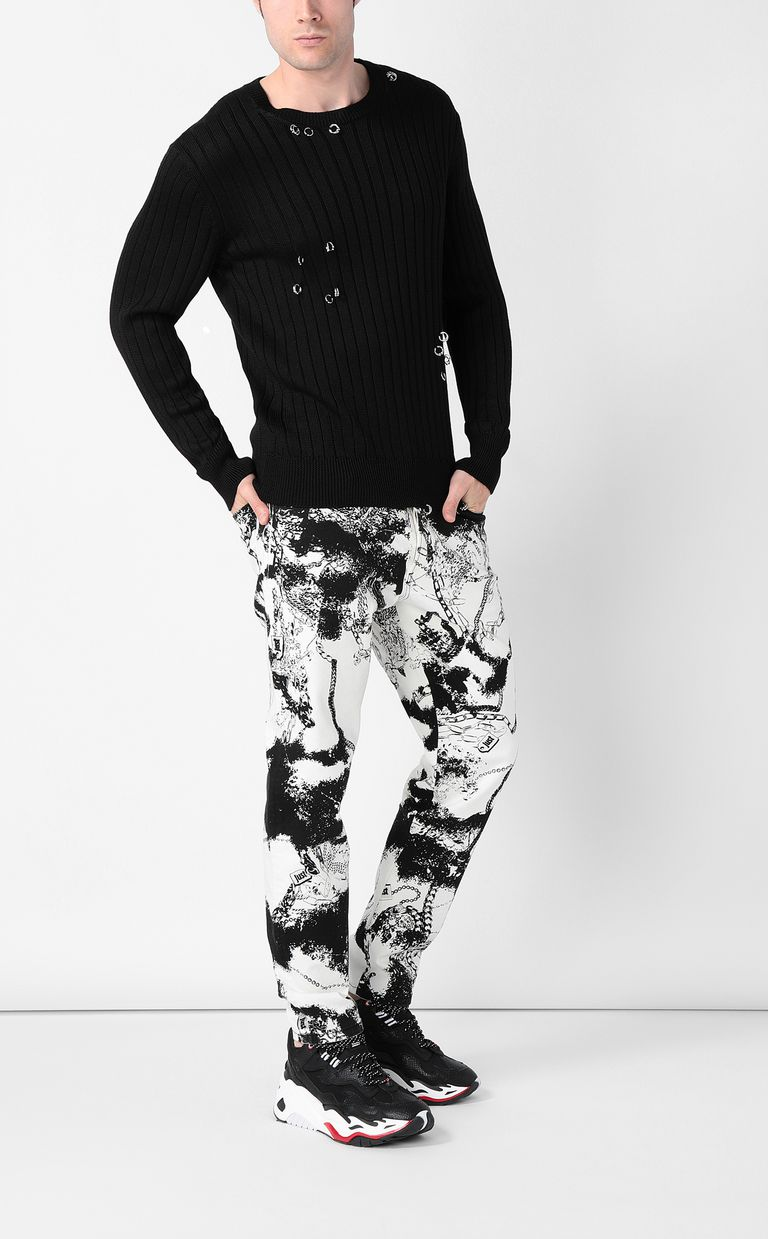 JUST CAVALLI Pullover with pierced detail Crewneck sweater Man d
