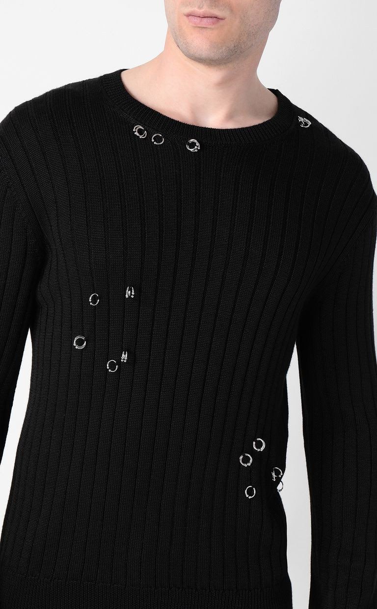 JUST CAVALLI Pullover with pierced detail Crewneck sweater Man e