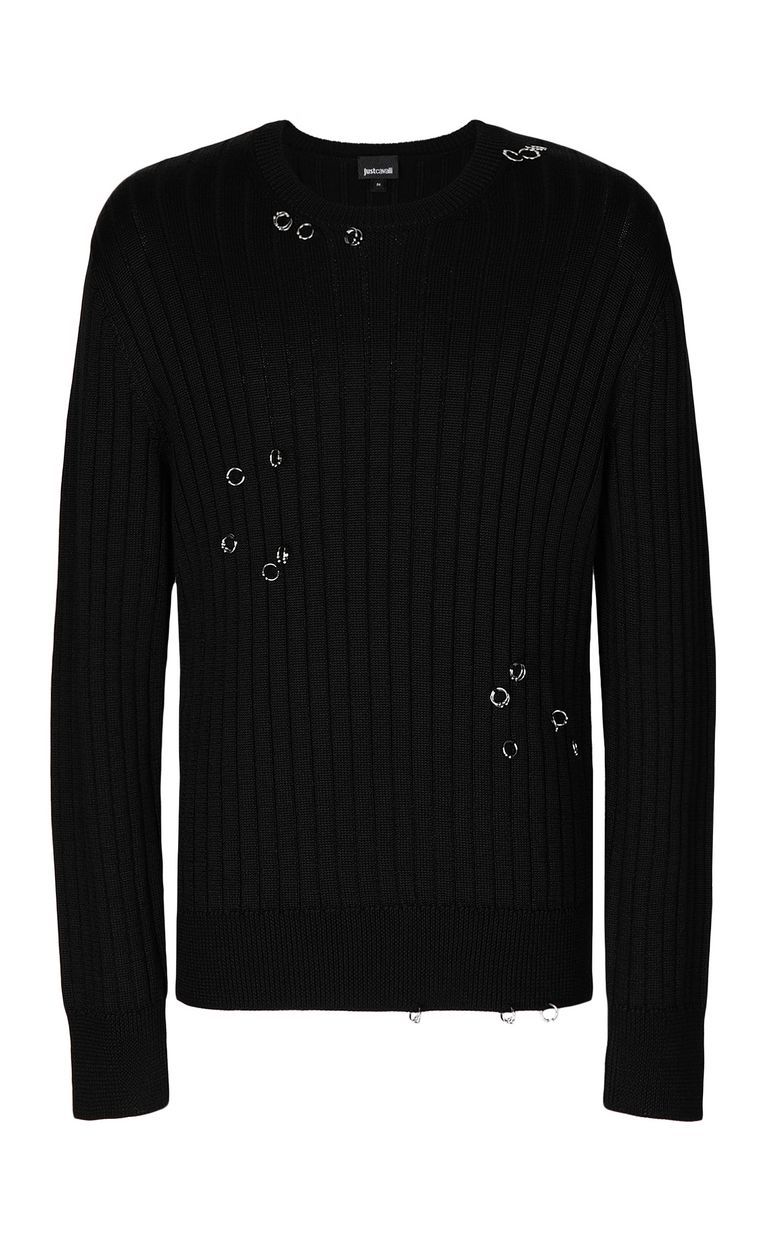 JUST CAVALLI Pullover with pierced detail Crewneck sweater Man f