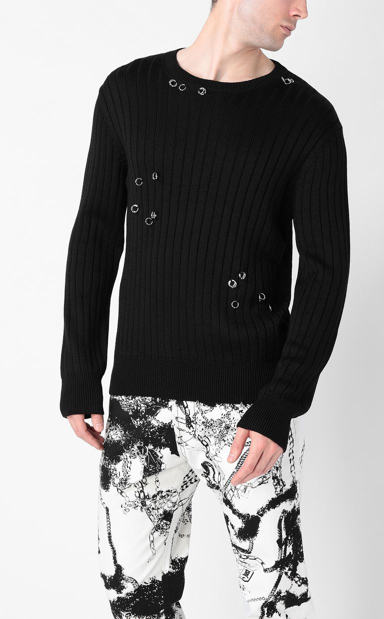 JUST CAVALLI Pullover with pierced detail Crewneck sweater Man r