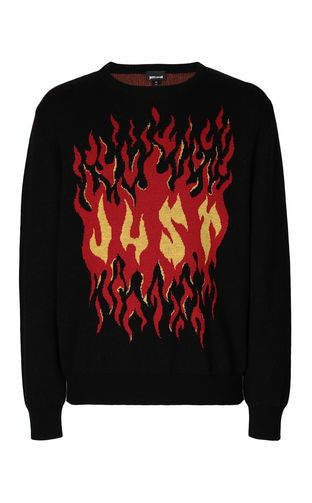 JUST CAVALLI Crewneck sweater Man Pullover with pierced detail f