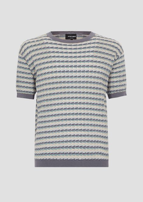 Short-sleeved shirt in punched, multicolour fabric
