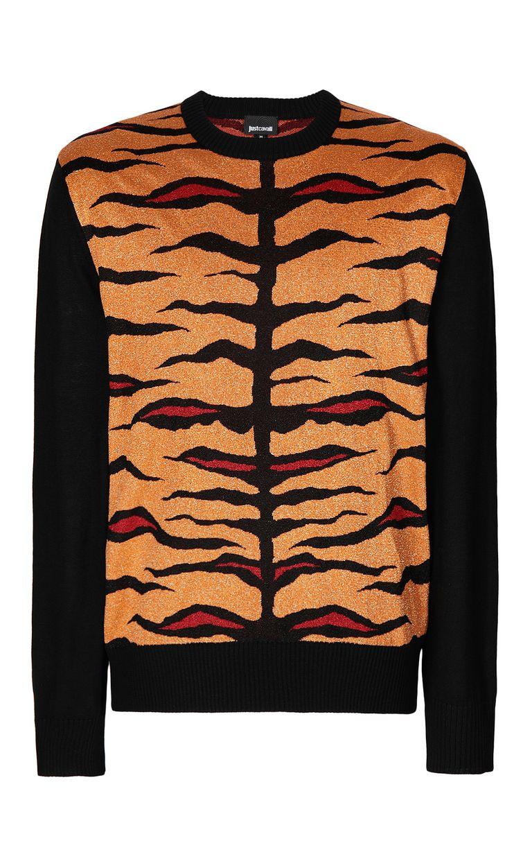 JUST CAVALLI Lurex pullover with animal print Crewneck sweater Man f