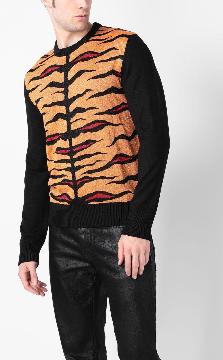 JUST CAVALLI Lurex pullover with animal print Crewneck sweater Man r
