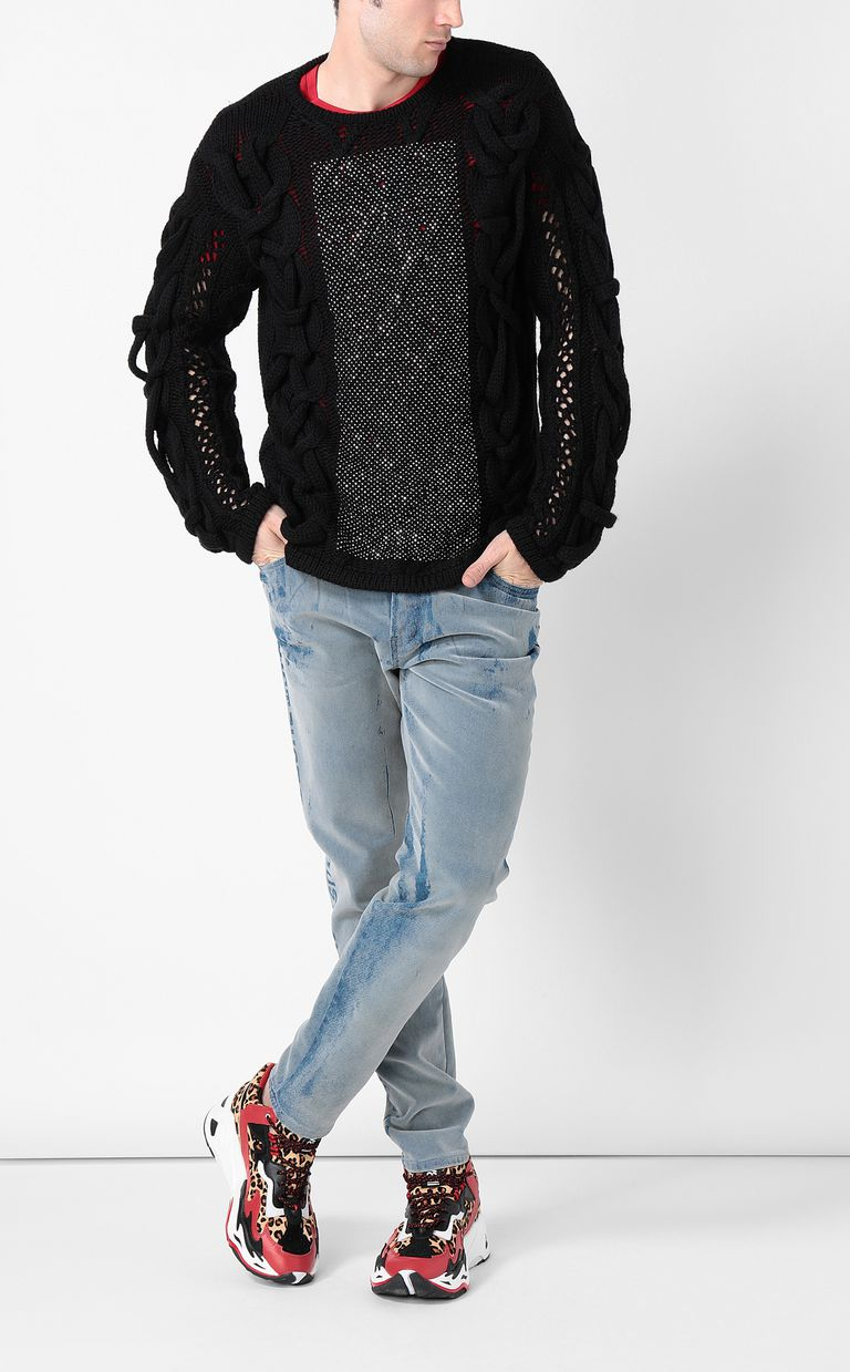JUST CAVALLI Pullover with diamanté detailing Crewneck sweater Man d
