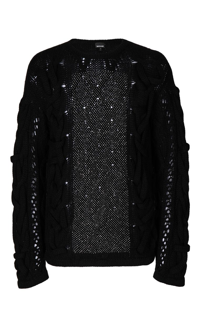 JUST CAVALLI Pullover with diamanté detailing Crewneck sweater Man f