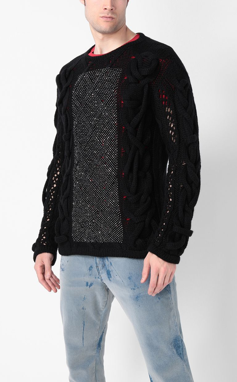 JUST CAVALLI Pullover with diamanté detailing Crewneck sweater Man r