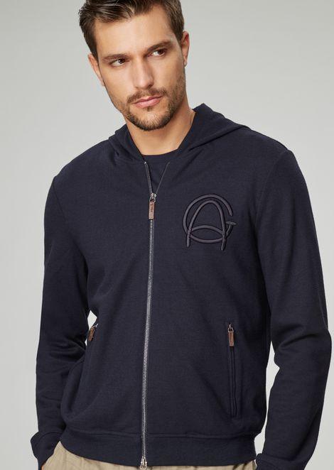 Blouson in lana e seta con cappuccio con logo d'archivio