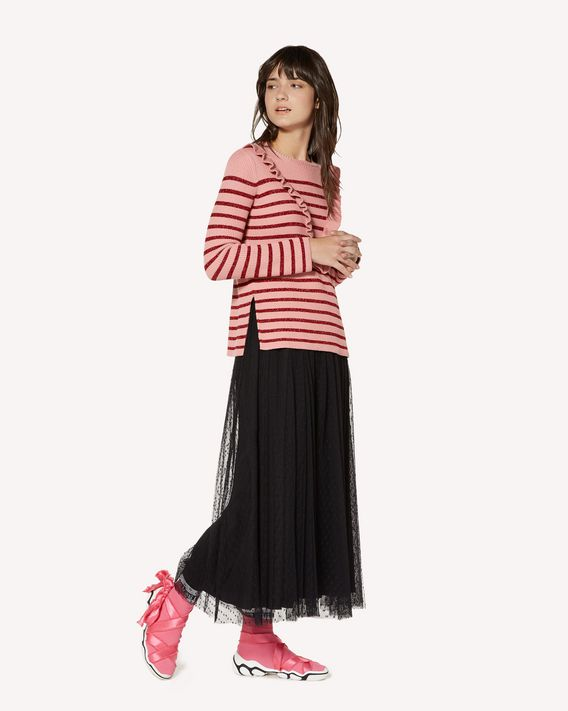 REDValentino Cotton and lurex jumper with ruffle detail