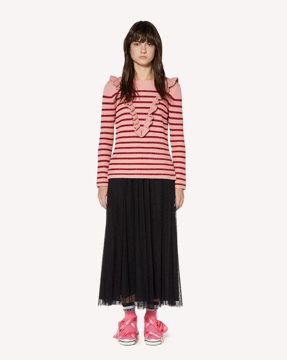 REDValentino Ruffle detail cotton lurex sweater