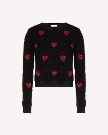 Hearts intarsia angora sweater