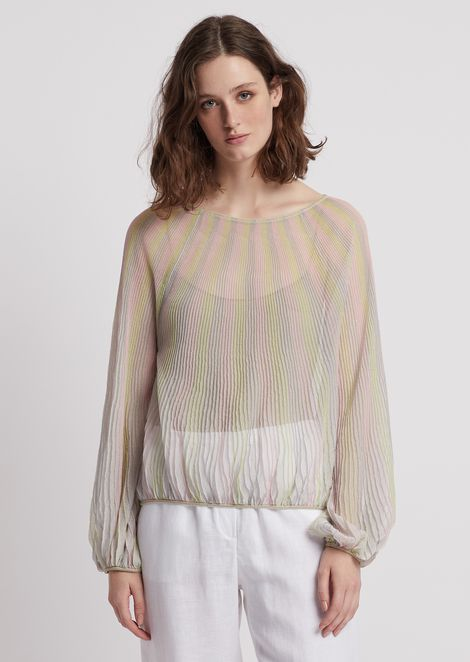 Striped voile top with balloon sleeves