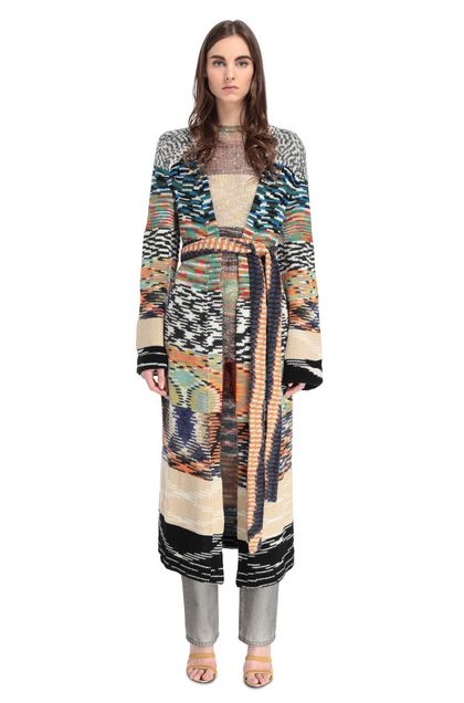 MISSONI Long cardigan Light green Woman - Back
