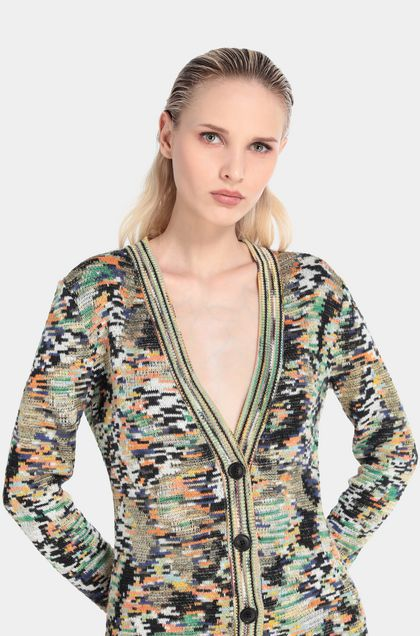 MISSONI Long cardigan Green Woman - Front