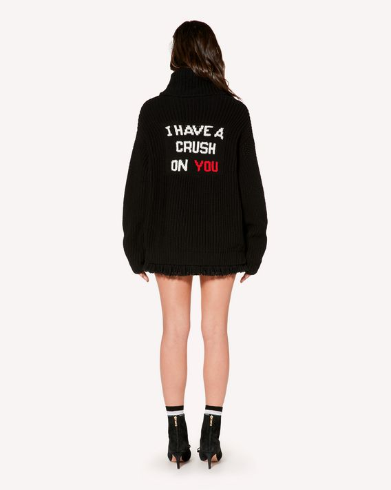 "REDValentino Cotton jumper with  ""I Have a Crush on You"" inlay"