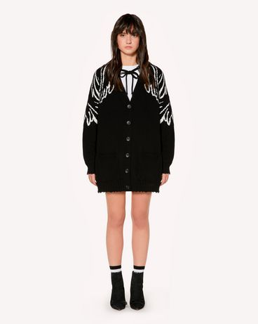 REDValentino Oversized wool cardigan with Wings jacquard