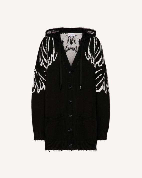 REDValentino Wings jacquard wool blend maxi cardigan