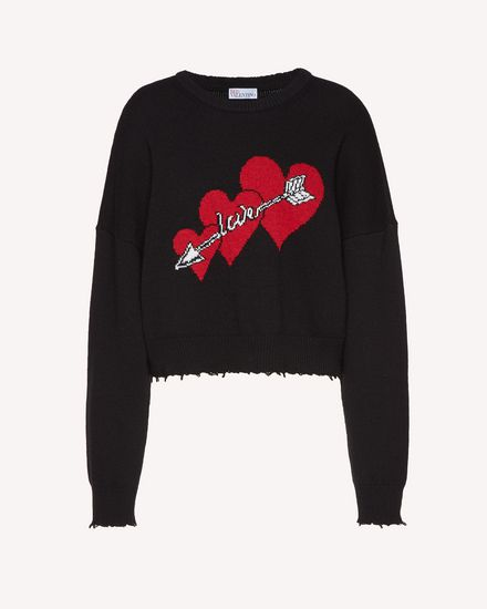 Hearts and arrows intarsia wool blend sweater
