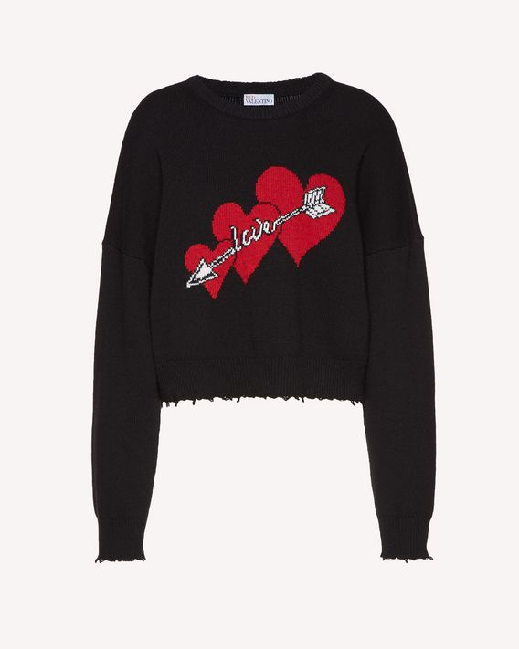 REDValentino Wool jumper with with Heart and Arrow inlay
