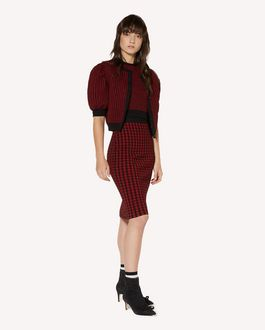 REDValentino Knitted check top in elasticated viscose and lurex jacquard