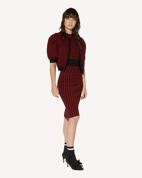 REDValentino Check lurex jacquard stretch viscose knit top