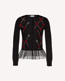 REDValentino Hearts and arrows intarsia wool  cardigan