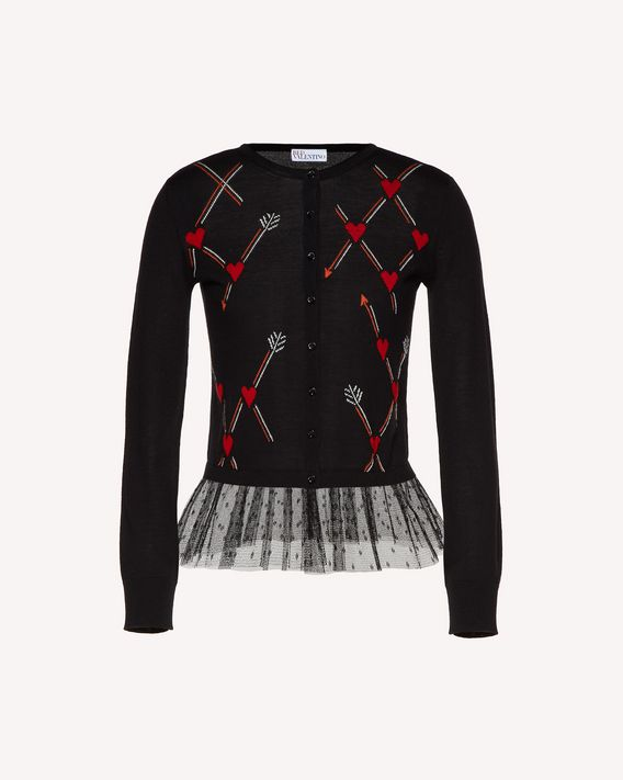 REDValentino Wool cardigan with Heart and Arrow inlay