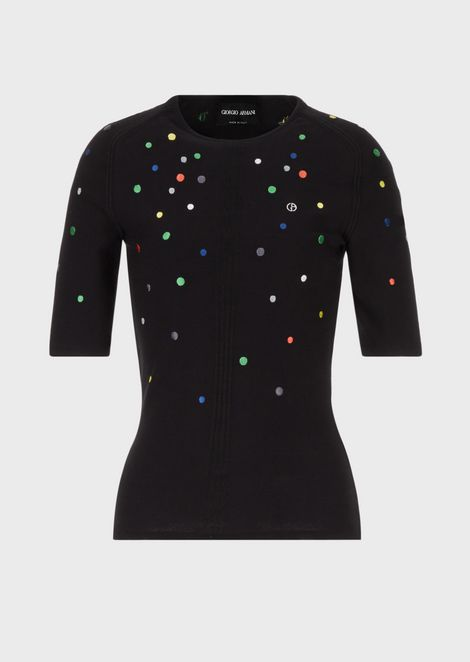 Top with four ribs and all-over embroidered multicolour polka dots