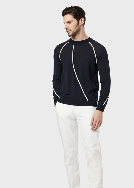 Virgin wool and cashmere sweater with contrasting piping