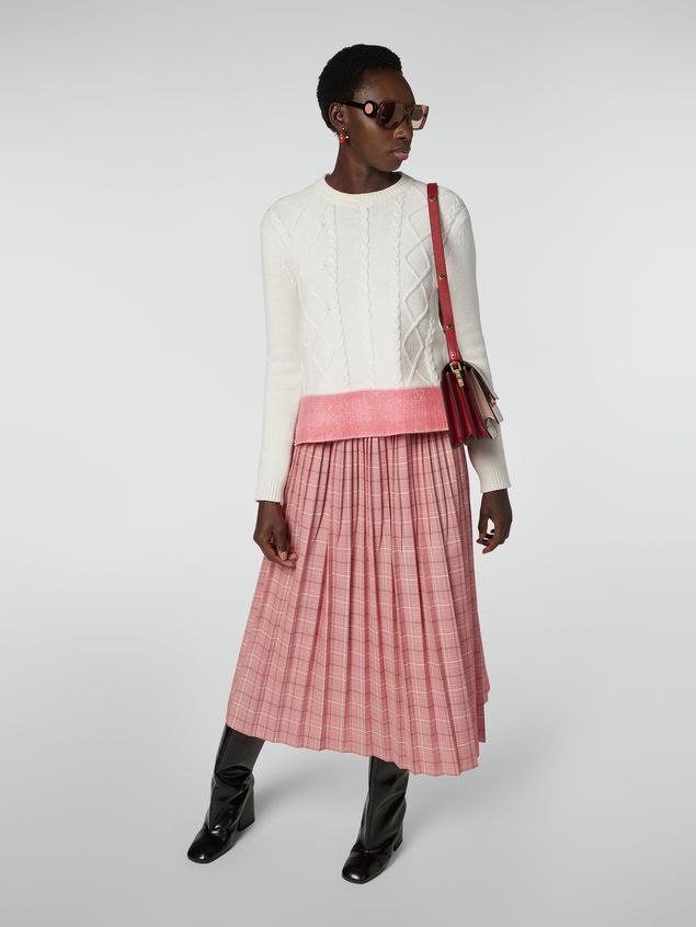 Marni Crewneck knit in silk and acetate with contrast bottom Woman - 5
