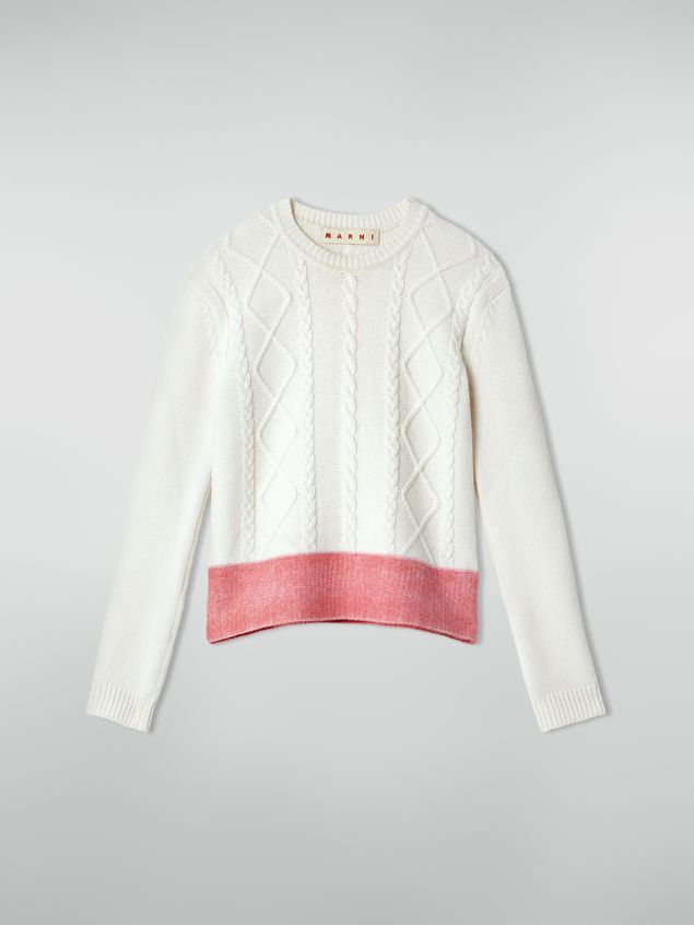 Marni Crewneck knit in wool with contrast bottom Woman - 2