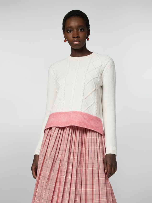 Marni Crewneck knit in silk and acetate with contrast bottom Woman - 1