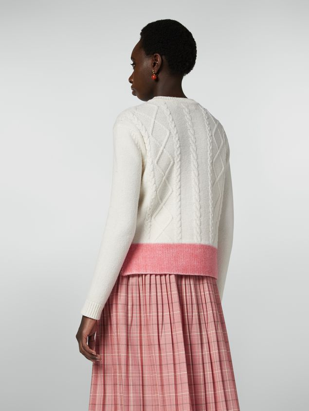 Marni Crewneck knit in wool with contrast bottom Woman - 3