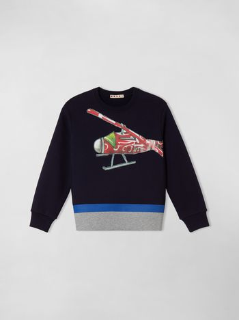 Marni COTTON SWEATSHIRT WITH PRINT ON THE FRONT  Man f