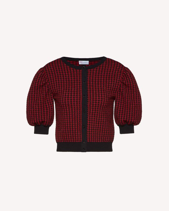 REDValentino Mini check cardigan in elasticated viscose and lurex jacquard