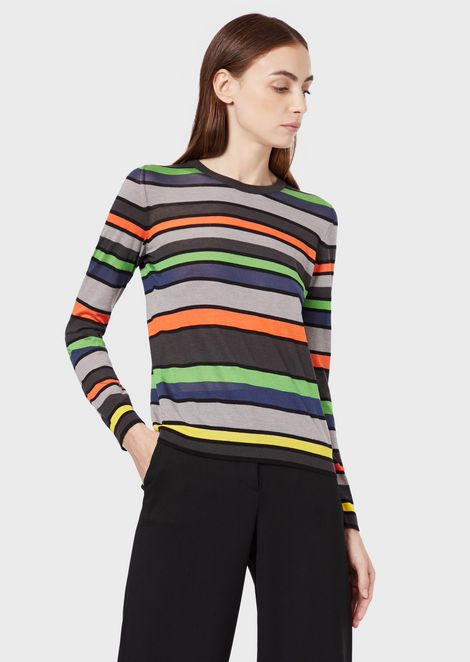 Silk and cashmere sweater with stripes in seven colours